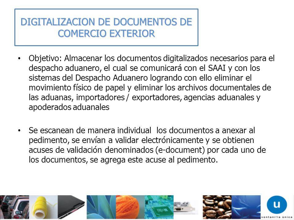 DIGITALIZACION DE DOCUMENTOS DE COMERCIO EXTERIOR Objetivo: Almacenar los documentos digitalizados necesarios para el despacho aduanero, el cual se co