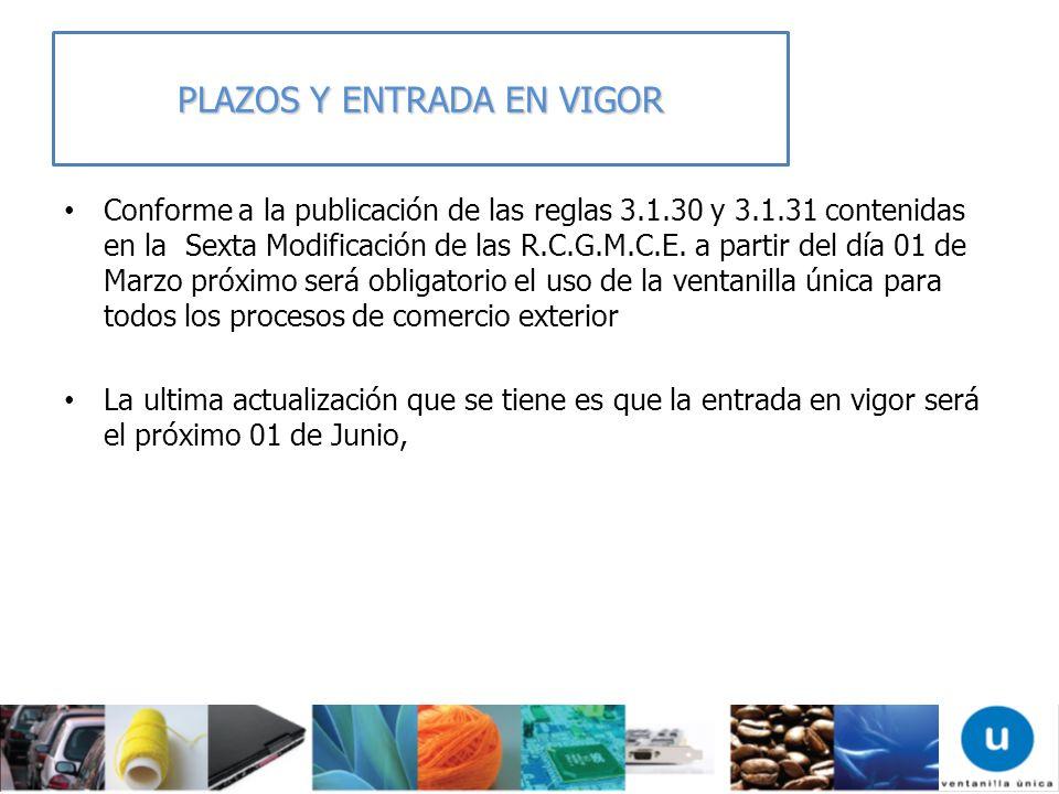 PLAZOS Y ENTRADA EN VIGOR Conforme a la publicación de las reglas 3.1.30 y 3.1.31 contenidas en la Sexta Modificación de las R.C.G.M.C.E. a partir del