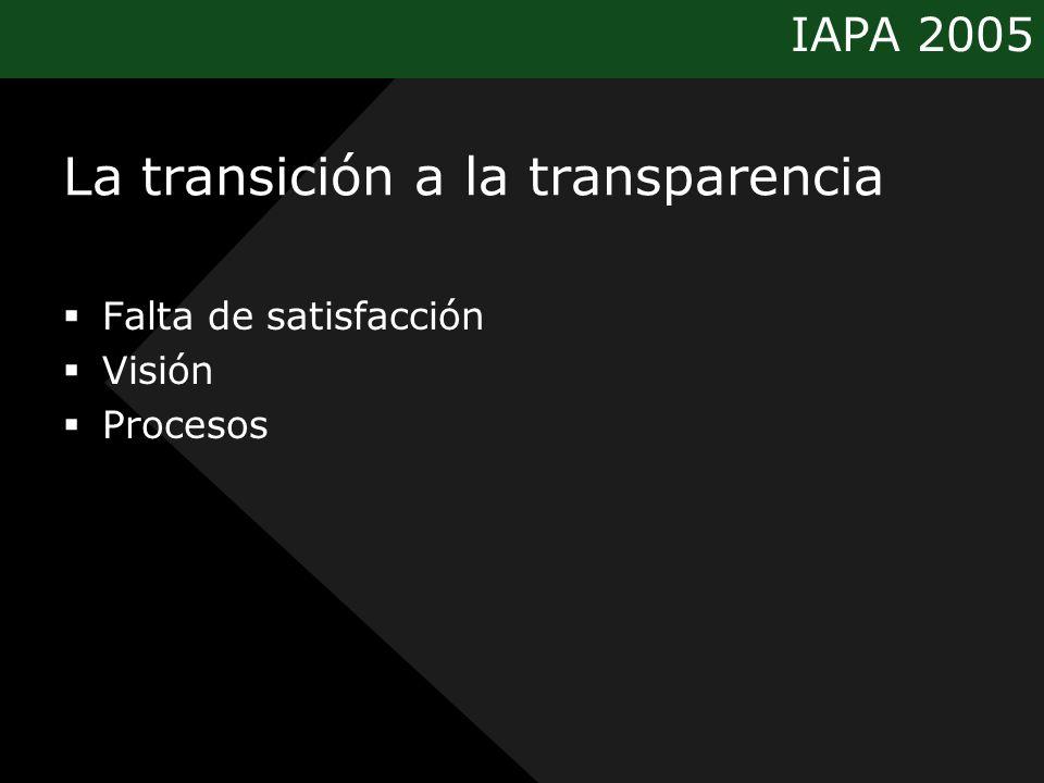 IAPA 2005 La transición a la transparencia Falta de satisfacción Visión Procesos