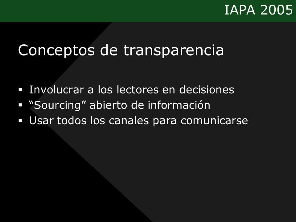 IAPA 2005 Conceptos de transparencia Involucrar a los lectores en decisiones Sourcing abierto de información Usar todos los canales para comunicarse