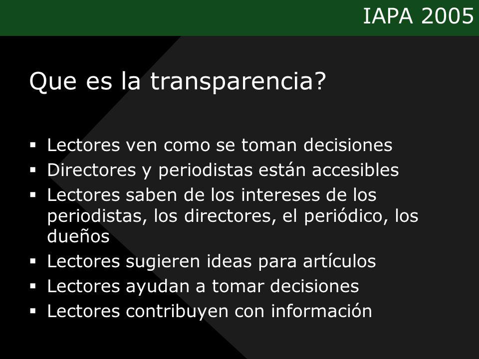 IAPA 2005 Que es la transparencia? Lectores ven como se toman decisiones Directores y periodistas están accesibles Lectores saben de los intereses de
