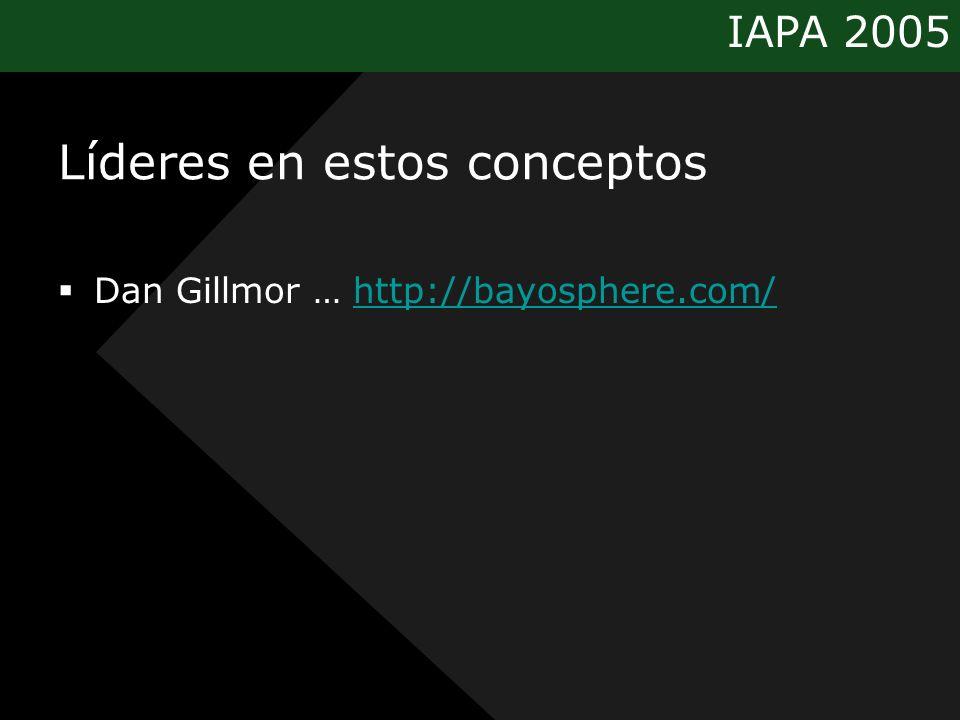 IAPA 2005 Líderes en estos conceptos Dan Gillmor … http://bayosphere.com/http://bayosphere.com/