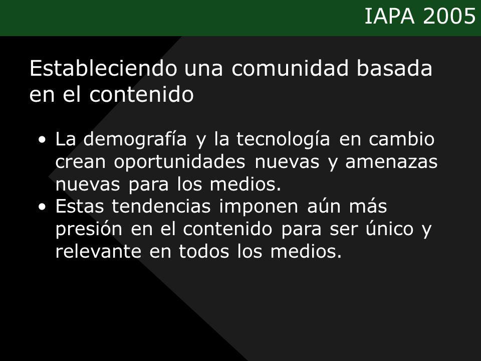 IAPA 2005 Estableciendo una comunidad basada en el contenido La demografía y la tecnología en cambio crean oportunidades nuevas y amenazas nuevas para los medios.