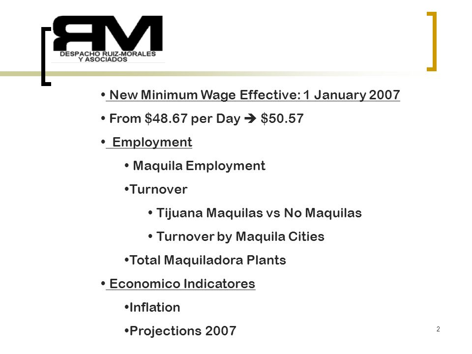 1 WMTA January 2007 Juan B. Morales de la Garza MBA CCP RUIZ-MORALES & ASSOCIATES January 18 th 2007 Tel :(01152664) 686-4116 Fax: (01152664) 686-1998