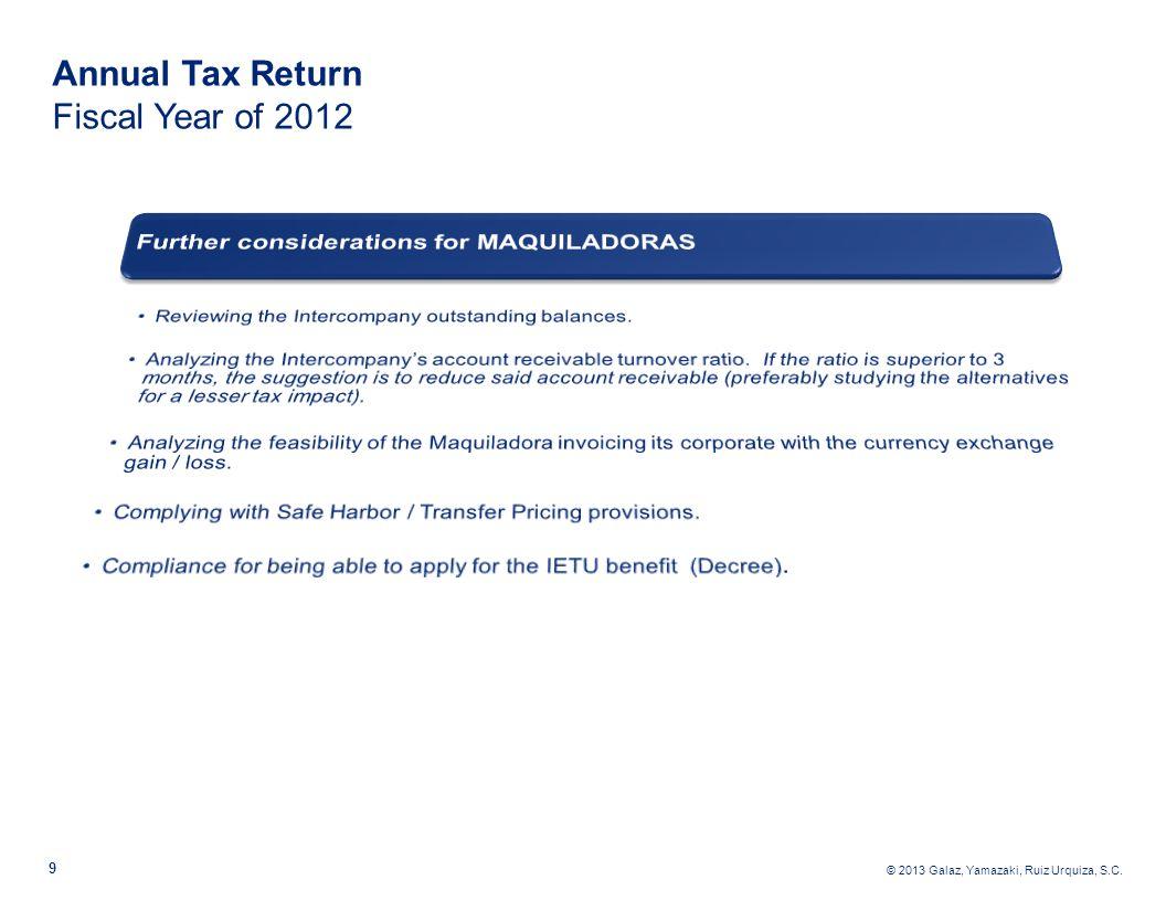 © 2013 Galaz, Yamazaki, Ruiz Urquiza, S.C. 10 Annual Tax Return Fiscal Year of 2012