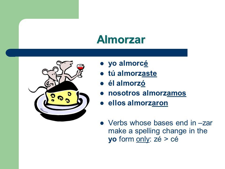 Un grupo más… almorzar – yo _______ – tú _______ – él _______ – nosotros _______ – ellos _______