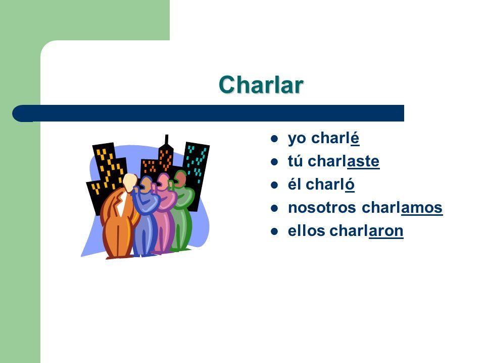 Lets Practice! Charlar – yo _______ – tú _______ – él _______ – nosotros _______ – ellos _______