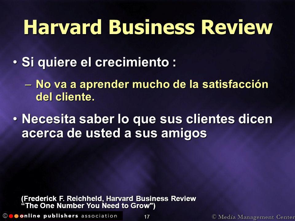 © Medía Management Center © 17 Harvard Business Review Si quiere el crecimiento :Si quiere el crecimiento : –No va a aprender mucho de la satisfacción del cliente.