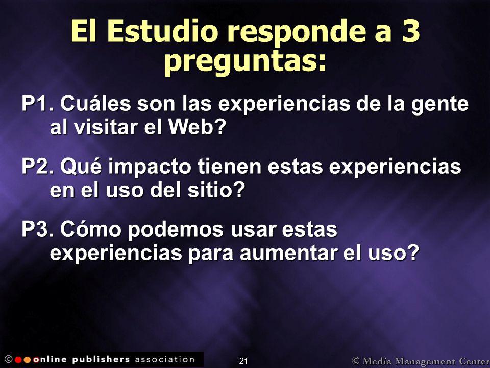 © Medía Management Center © 21 P1. Cuáles son las experiencias de la gente al visitar el Web? P2. Qué impacto tienen estas experiencias en el uso del