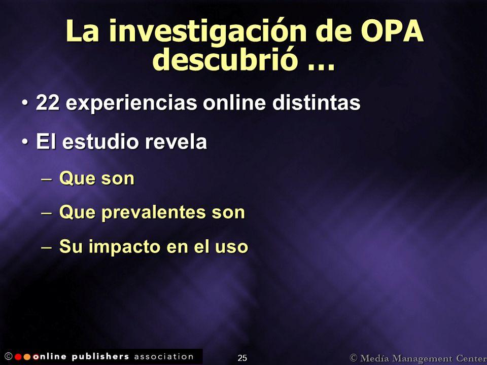 © Medía Management Center © 25 La investigación de OPA descubrió … 22 experiencias online distintas22 experiencias online distintas El estudio revelaE