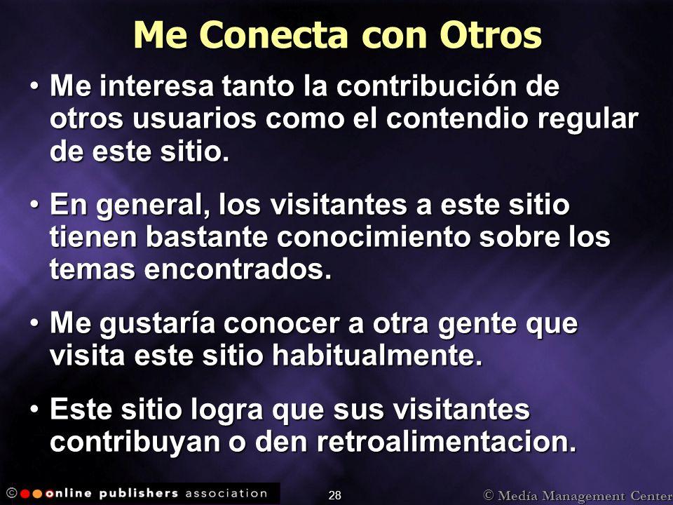 © Medía Management Center © 28 Me Conecta con Otros Me interesa tanto la contribución de otros usuarios como el contendio regular de este sitio.Me int