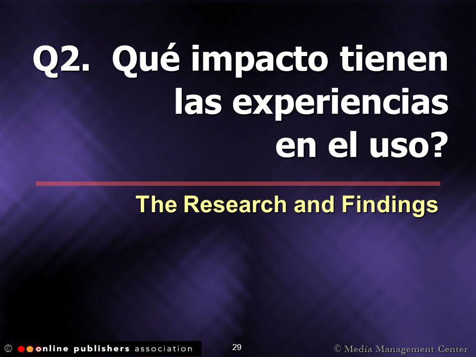 © Medía Management Center © 29 Q2. Qué impacto tienen las experiencias en el uso? The Research and Findings