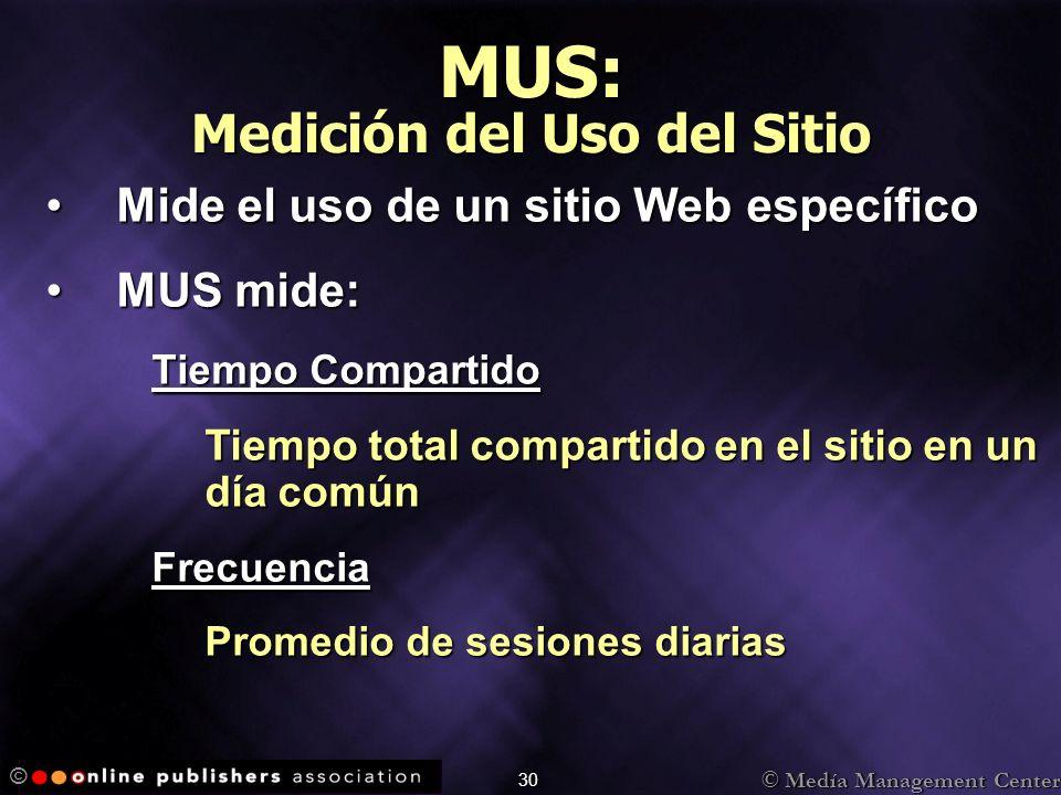 © Medía Management Center © 30 MUS: Medición del Uso del Sitio Mide el uso de un sitio Web específicoMide el uso de un sitio Web específico MUS mide:M