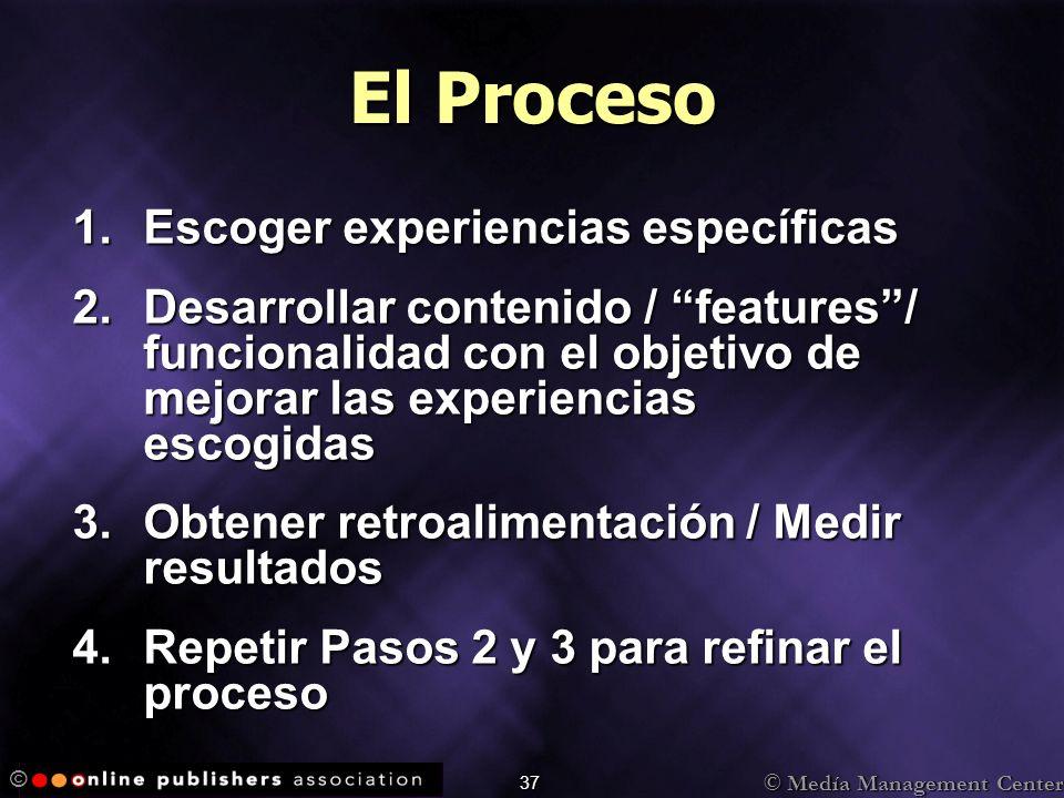 © Medía Management Center © 37 El Proceso 1.Escoger experiencias específicas 2.Desarrollar contenido / features/ funcionalidad con el objetivo de mejorar las experiencias escogidas 3.Obtener retroalimentación / Medir resultados 4.Repetir Pasos 2 y 3 para refinar el proceso