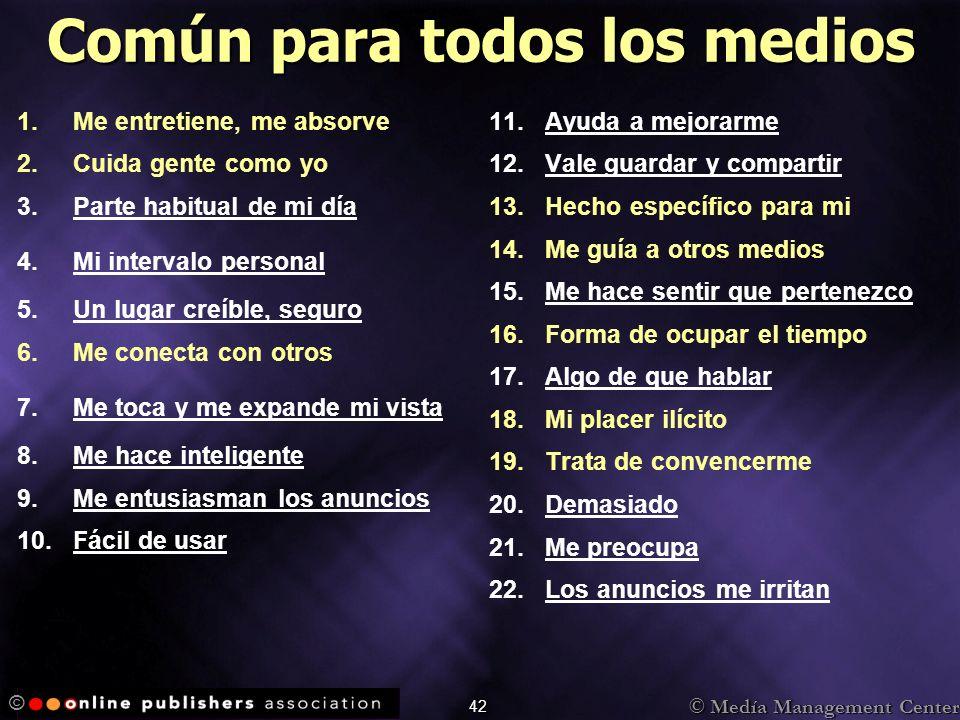 © Medía Management Center © 42 Común para todos los medios 1. 1.Me entretiene, me absorve 2. 2.Cuida gente como yo 3. 3.Parte habitual de mi día 4. 4.
