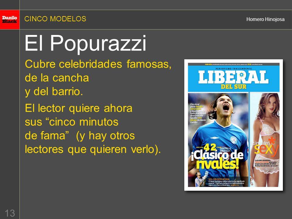 CINCO MODELOS Homero Hinojosa 13 El Popurazzi Cubre celebridades famosas, de la cancha y del barrio.