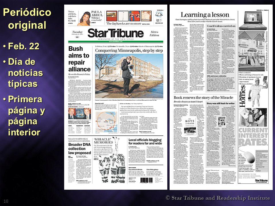 © Star Tribune and Readership Institute 10 Periódico original Feb. 22Feb. 22 Día de noticias típicasDía de noticias típicas Primera página y página in