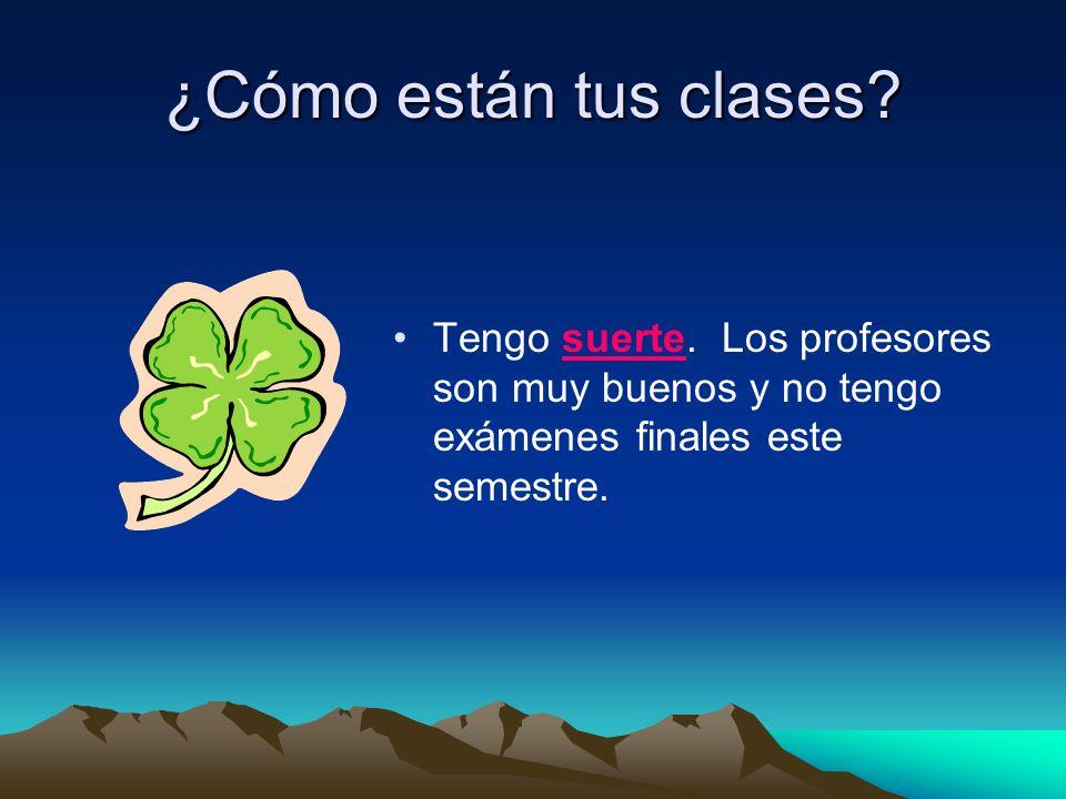 ¿Cómo están tus clases? Tengo suerte. Los profesores son muy buenos y no tengo exámenes finales este semestre.