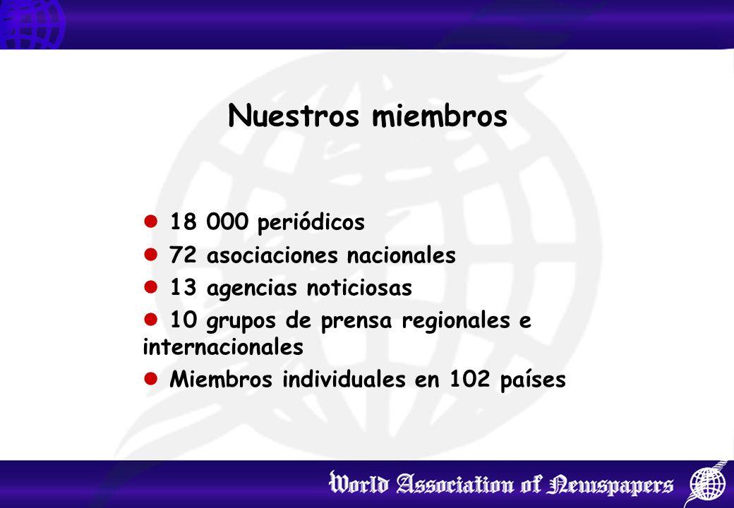 Nuestros miembros 18 000 periódicos 72 asociaciones nacionales 13 agencias noticiosas 10 grupos de prensa regionales e internacionales Miembros individuales en 102 países