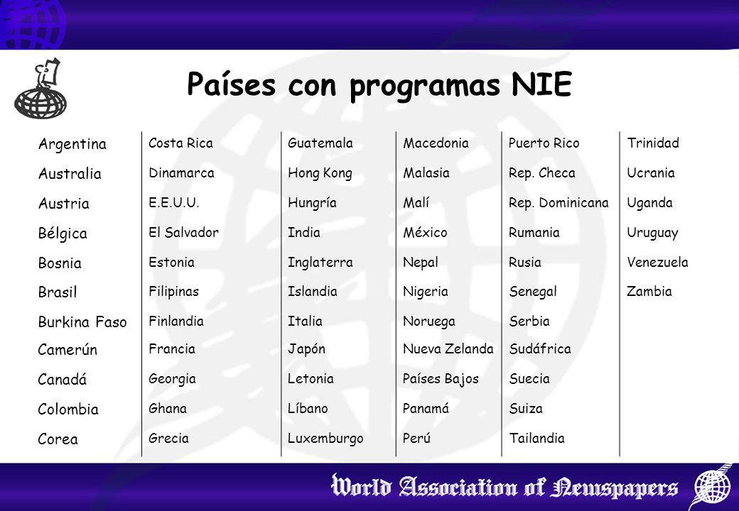 Países con programas NIE Argentina Costa RicaGuatemalaMacedoniaPuerto RicoTrinidad Australia DinamarcaHong KongMalasiaRep.