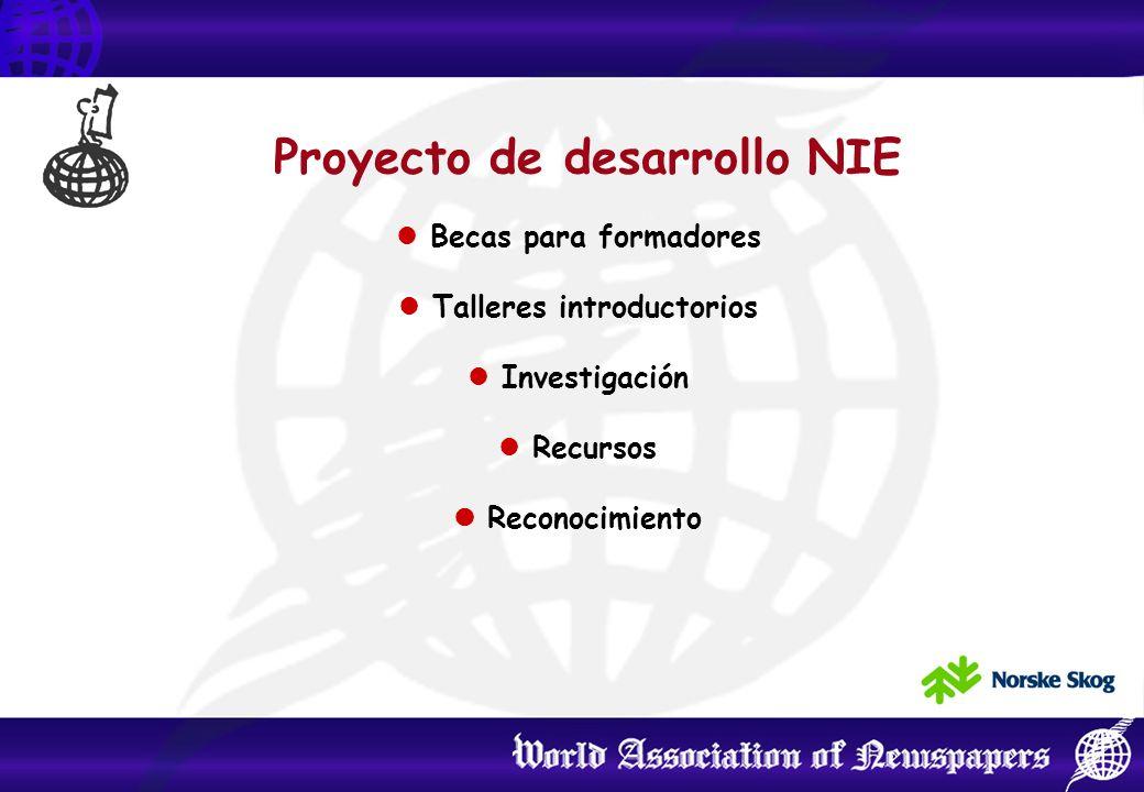 Proyecto de desarrollo NIE Becas para formadores Talleres introductorios Investigación Recursos Reconocimiento