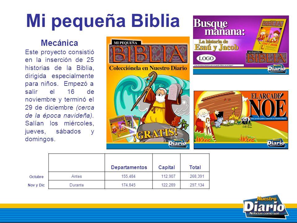 Mi pequeña Biblia Mecánica Este proyecto consistió en la inserción de 25 historias de la Biblia, dirigida especialmente para niños. Empezó a salir el