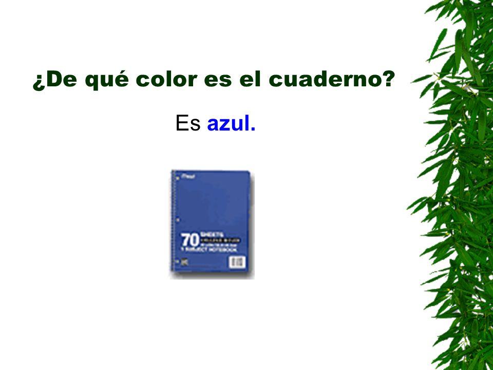 ¿De qué color es el cuaderno? Es azul.