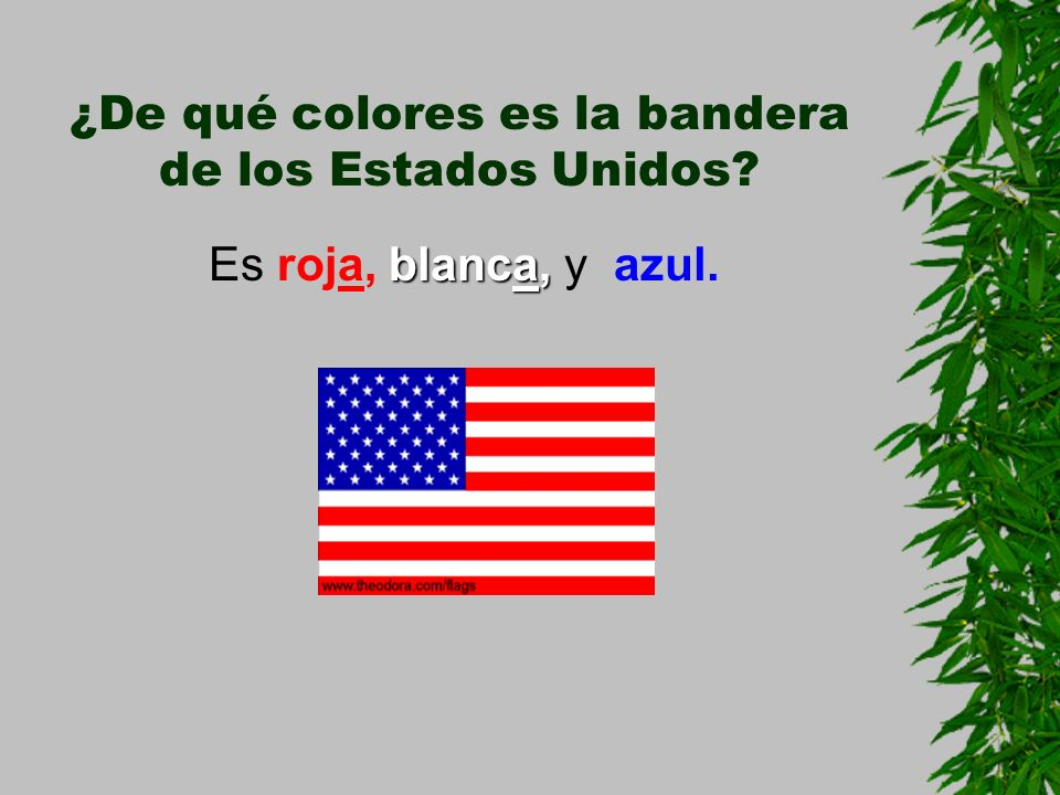 ¿De qué colores es la bandera de los Estados Unidos? blanca, Es roja, blanca, y azul.