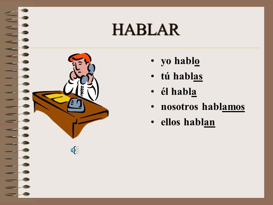 Lets Practice! > HABLAR yo _______ tú _______ él ________ nosotros ________ ellos _______