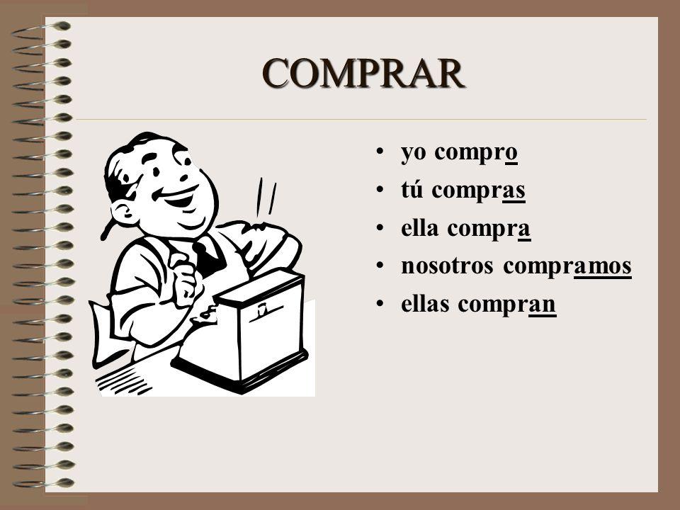 COMPRAR yo _______ tú _______ ella ________ nosotros ________ ellas _______