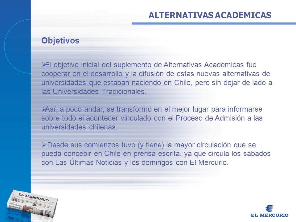 ALTERNATIVAS ACADEMICAS Objetivos El objetivo inicial del suplemento de Alternativas Académicas fue cooperar en el desarrollo y la difusión de estas n
