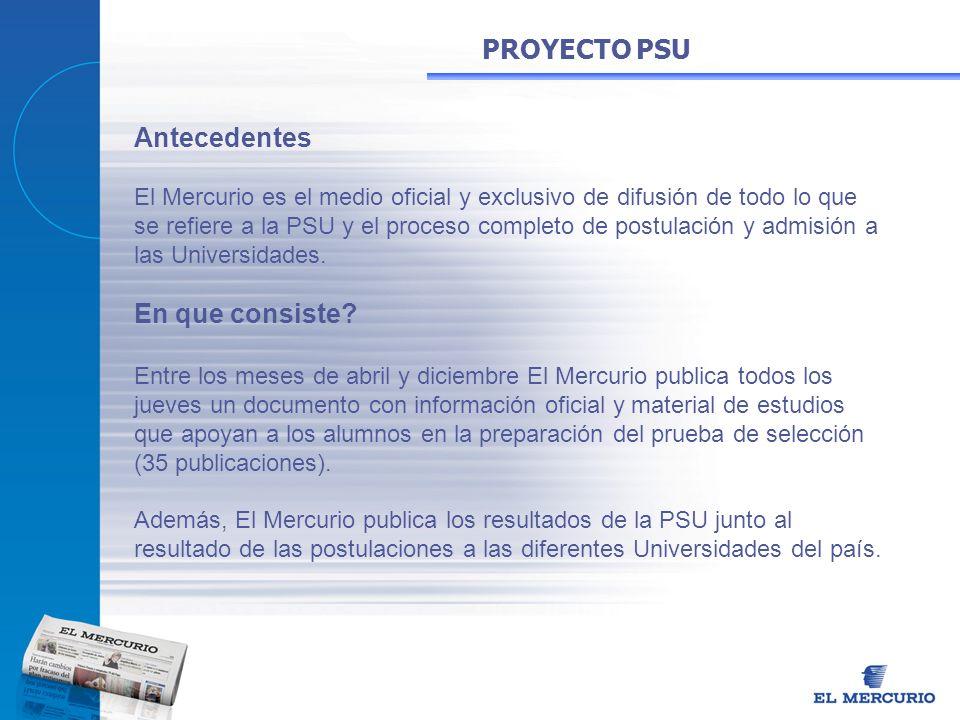 Antecedentes El Mercurio es el medio oficial y exclusivo de difusión de todo lo que se refiere a la PSU y el proceso completo de postulación y admisió