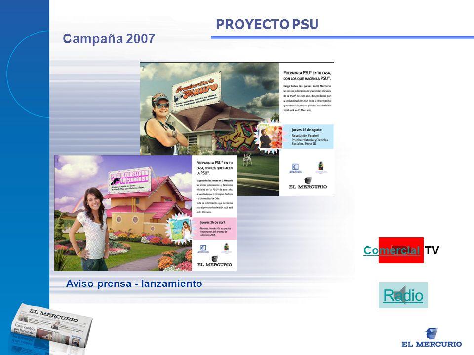 Campaña 2007 PROYECTO PSU Aviso prensa - lanzamiento Comercial TV Radio