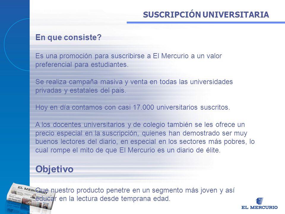 En que consiste? Es una promoción para suscribirse a El Mercurio a un valor preferencial para estudiantes. Se realiza campaña masiva y venta en todas