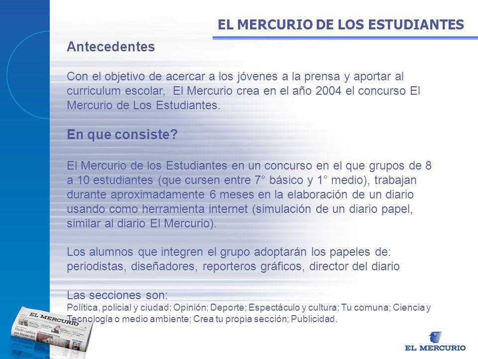 Antecedentes Con el objetivo de acercar a los jóvenes a la prensa y aportar al curriculum escolar, El Mercurio crea en el año 2004 el concurso El Merc