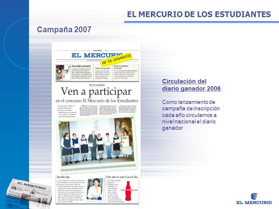 Campaña 2007 Circulación del diario ganador 2006 Como lanzamiento de campaña de inscripción cada año circulamos a nivel nacional el diario ganador EL