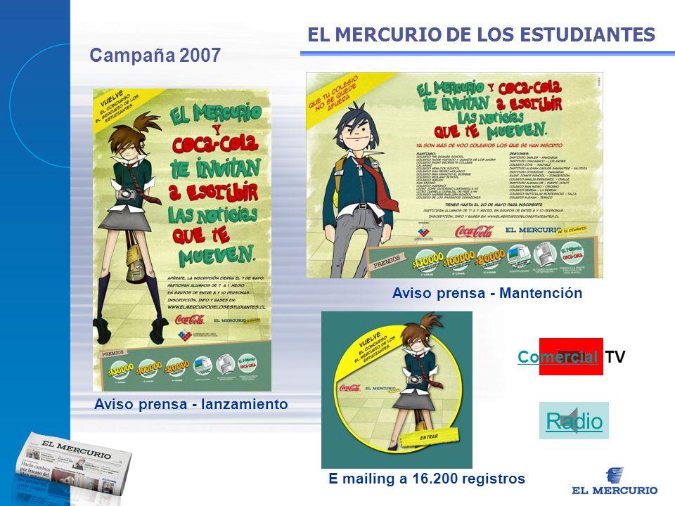Campaña 2007 EL MERCURIO DE LOS ESTUDIANTES Aviso prensa - lanzamiento Aviso prensa - Mantención E mailing a 16.200 registros Comercial TV Radio