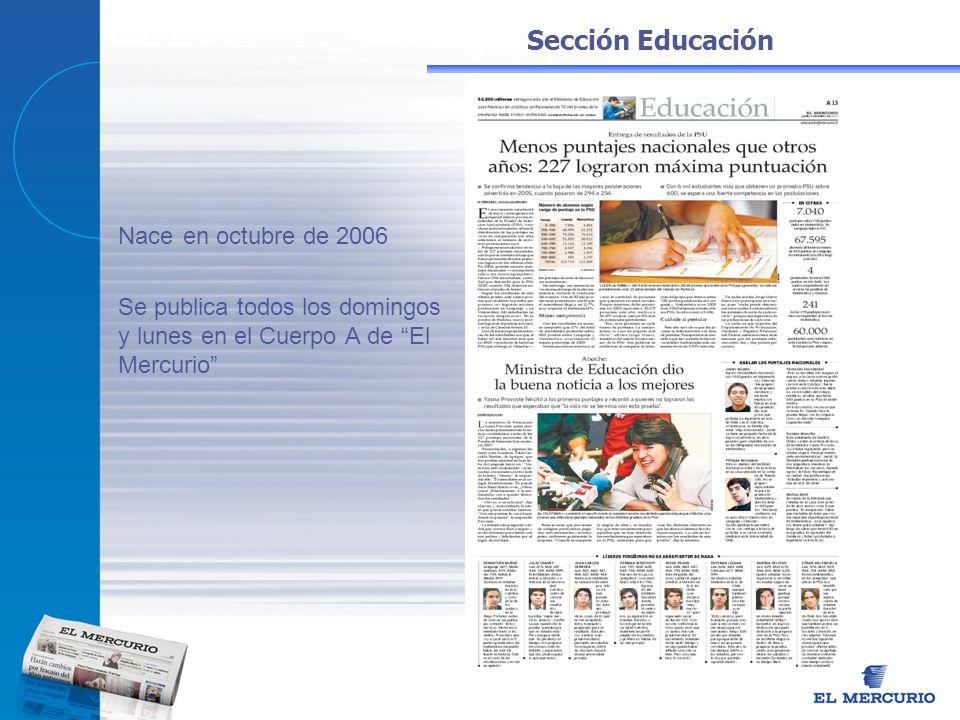 Sección Educación Nace en octubre de 2006 Se publica todos los domingos y lunes en el Cuerpo A de El Mercurio
