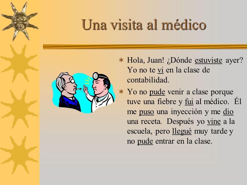 Una visita al médico Hola, Juan. ¿Dónde [tú] ______ (estar) ayer.