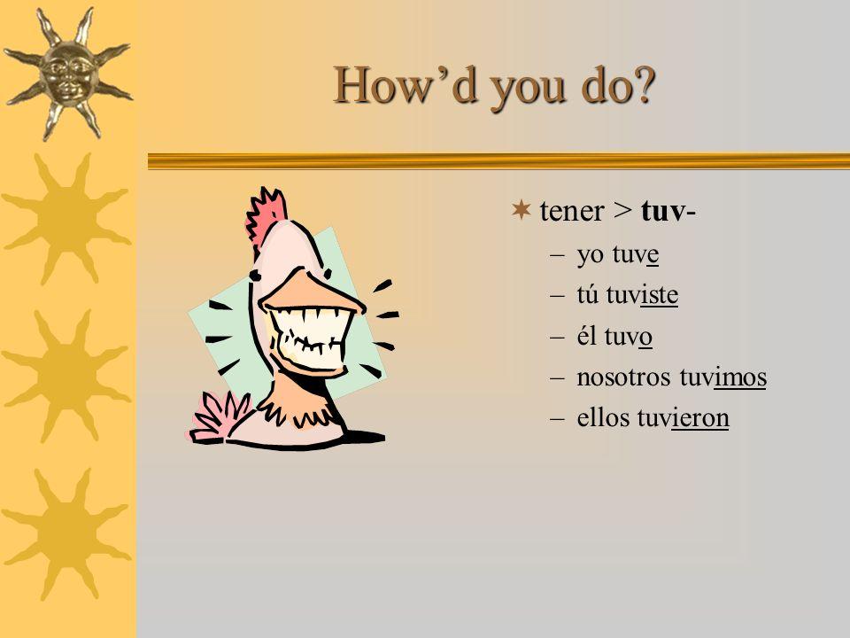 Try one yourself! tener > tuv- –yo tuv___ –tú tuv___ –él tuv___ –nosotros tuv___ –ellos tuv___
