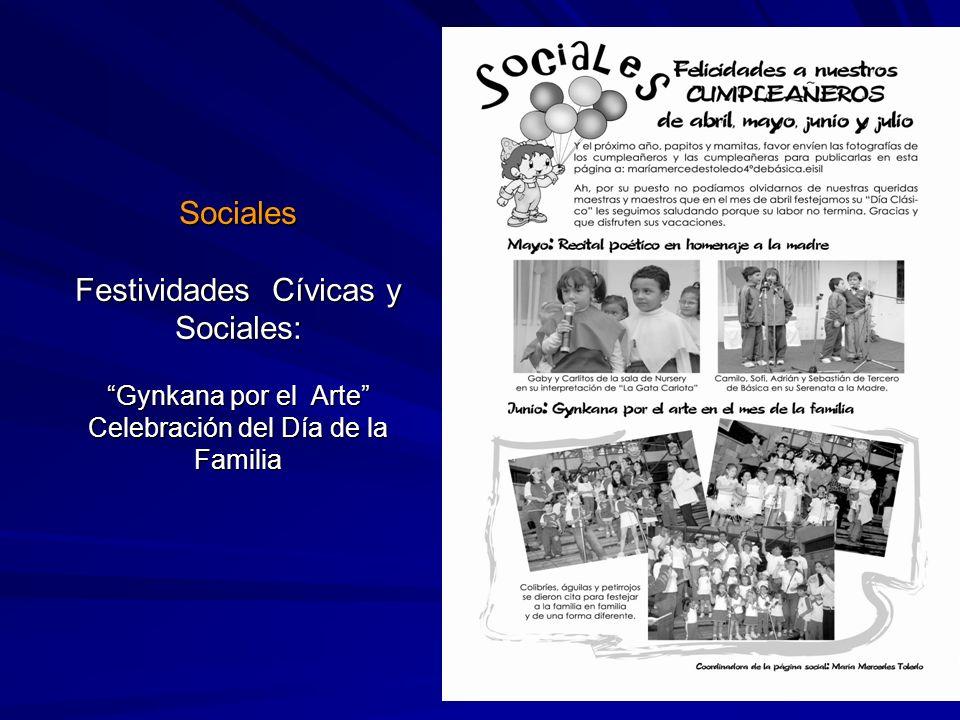 Sociales Festividades Cívicas y Sociales: Gynkana por el Arte Celebración del Día de la Familia