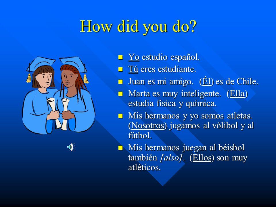 Lets practice! Rewrite each sentence with an appropriate subject pronoun. _____ estudio español. _____ eres estudiante. Juan es mi amigo. _____ es de