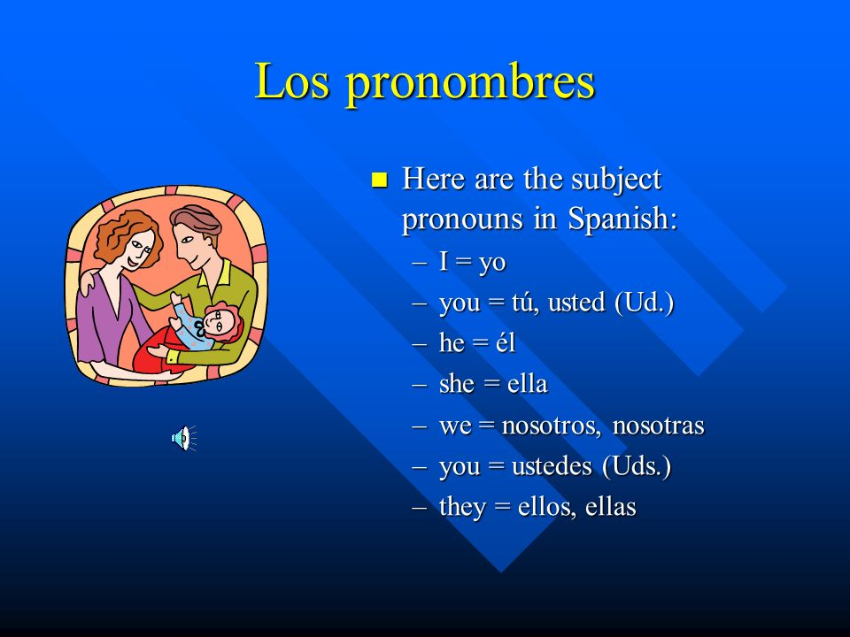 Los pronombres Here are the subject pronouns in Spanish: –I = yo –you = tú, usted (Ud.) –he = él –she = ella –we = nosotros, nosotras –you = ustedes (Uds.) –they = ellos, ellas