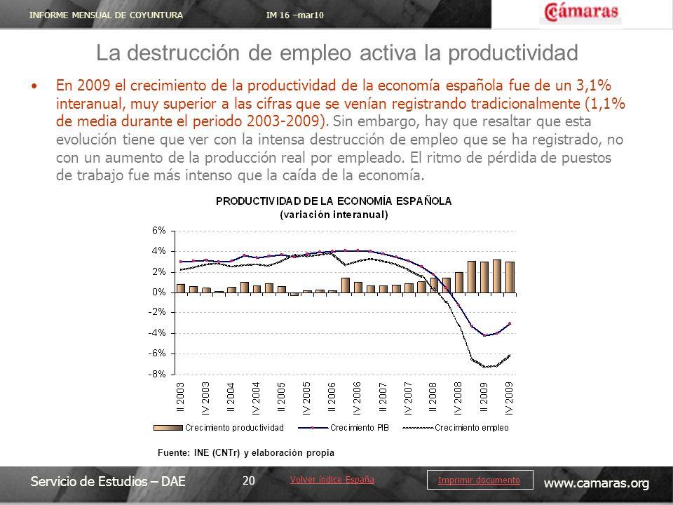 INFORME MENSUAL DE COYUNTURA IM 16 –mar10 Servicio de Estudios – DAE www.camaras.org 20 Imprimir documento En 2009 el crecimiento de la productividad de la economía española fue de un 3,1% interanual, muy superior a las cifras que se venían registrando tradicionalmente (1,1% de media durante el periodo 2003-2009).