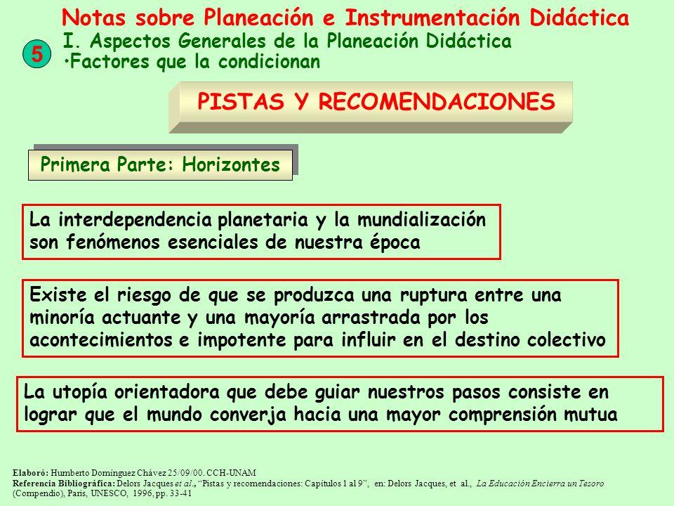 Primera Parte: Horizontes Elaboró: Humberto Domínguez Chávez 25/09/00. CCH-UNAM Referencia Bibliográfica: Delors Jacques et al., Pistas y recomendacio