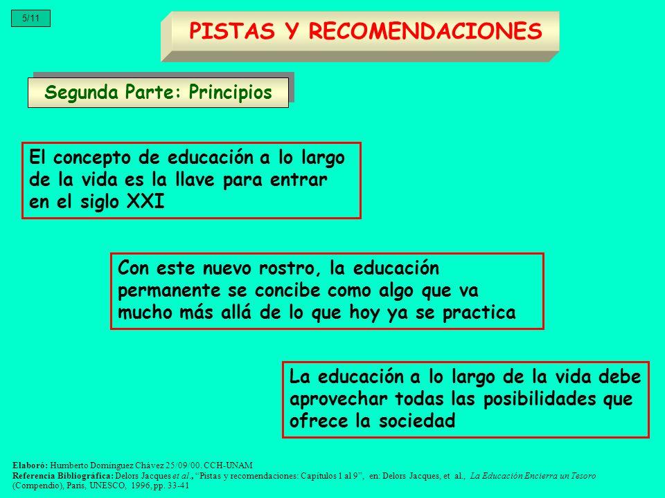 El concepto de educación a lo largo de la vida es la llave para entrar en el siglo XXI Segunda Parte: Principios PISTAS Y RECOMENDACIONES 5/11 Con est