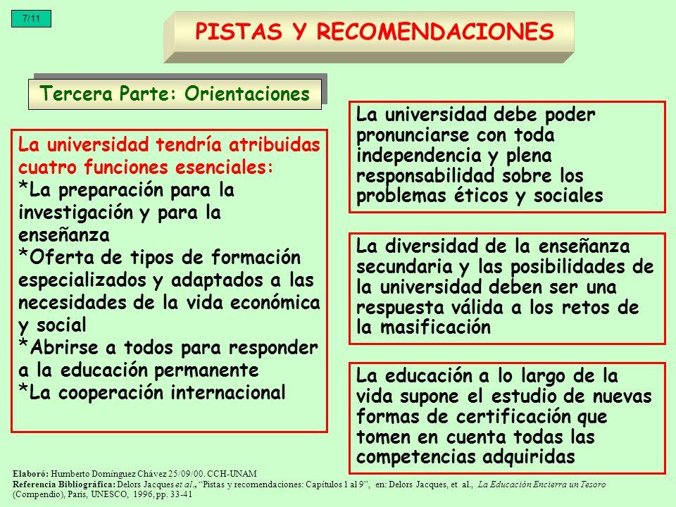 La universidad tendría atribuidas cuatro funciones esenciales: * La preparación para la investigación y para la enseñanza * Oferta de tipos de formaci