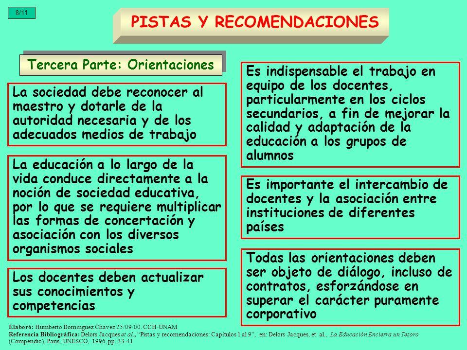 Tercera Parte: Orientaciones PISTAS Y RECOMENDACIONES 8/11 La sociedad debe reconocer al maestro y dotarle de la autoridad necesaria y de los adecuado