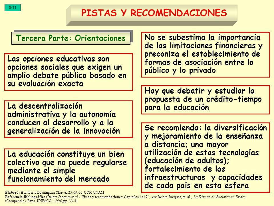 Tercera Parte: Orientaciones PISTAS Y RECOMENDACIONES 9/11 Las opciones educativas son opciones sociales que exigen un amplio debate público basado en