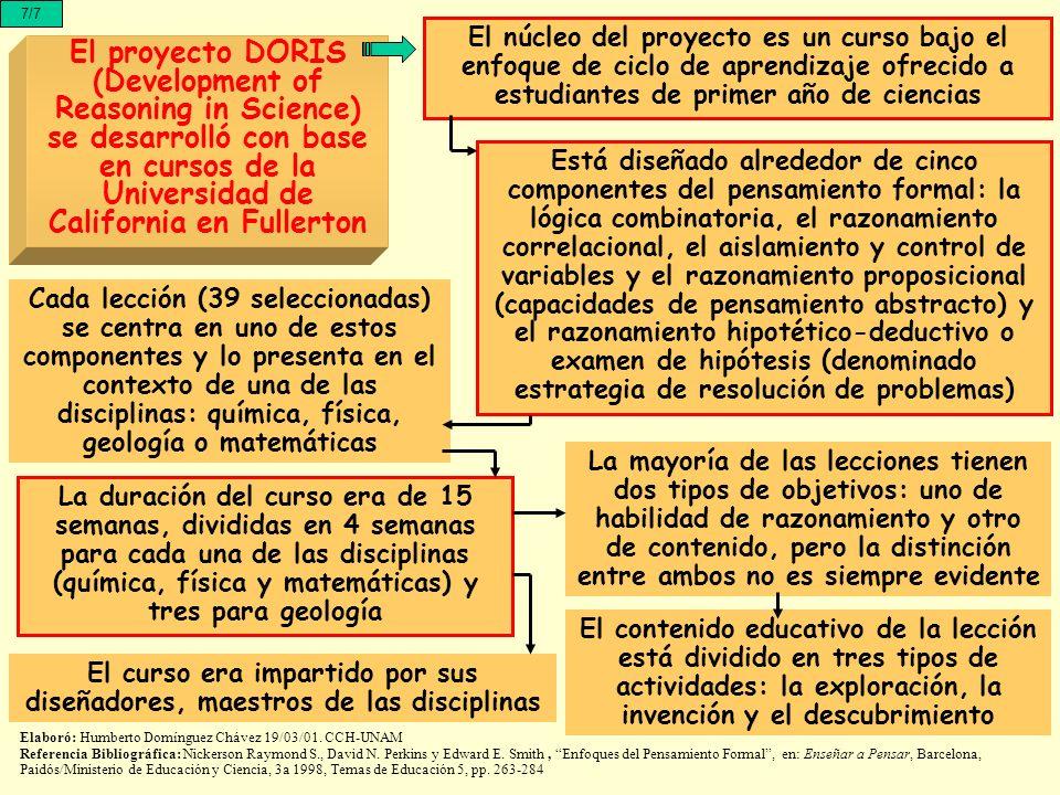 7/7 El proyecto DORIS (Development of Reasoning in Science) se desarrolló con base en cursos de la Universidad de California en Fullerton El núcleo de